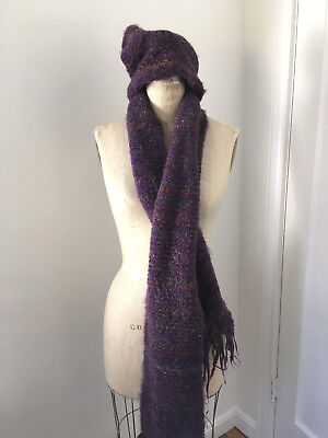Everitt knit scarf and hat set purple