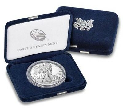 2017-W $1 Silver American Eagle Proof Coin, 1 oz. Silver, Mint Case & Box, COA