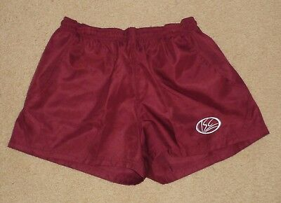 New Medium Mens ISC Rugby Union Rugby League Shorts Pockets Polyester Maroon