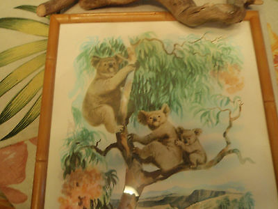 Koalas In The Trees Vintage Wood Framed Art Austrialia  Collectible Art