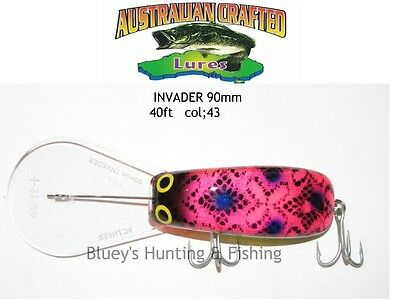 Australian Crafted Lures- cod 90mm invader pink Frog col;43, 40ft a.c.lures