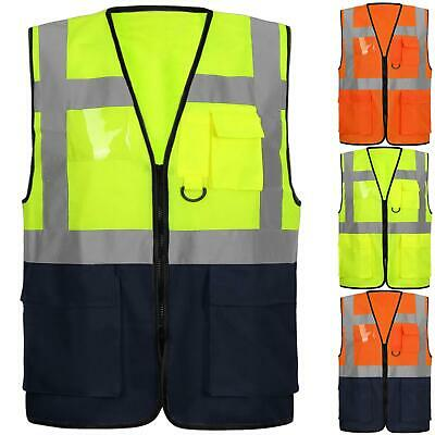 High Vis Viz Visibility Vest Work Zip Waistcoat Reflective Safety Security Top