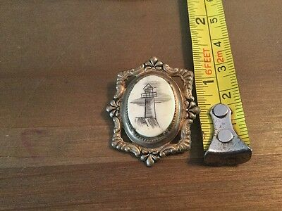 Scrimshaw Brooch - Lighthouse