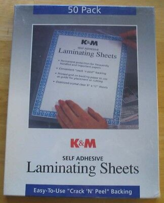 K & M Self Adhesive Laminating Sheets,Crystal Clear, 9 x 12 Inches, 50 Pack