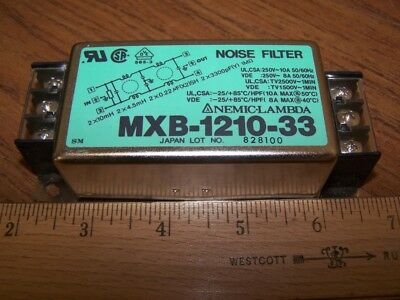 NEMIC-LAMBDA MXB-1210-33 EMI Power Line Noise Filter 250V 10A 1Ph 2-Stage C14
