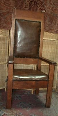 Antique Tall Oak Hall Throne Chair Arts & Crafts Mission Era Leather Seat/Back