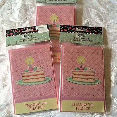Mary Engelbreit Thanks to Pieces! Pink Thank You Notes Birthday Cake NIP 3 Packs