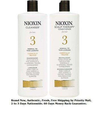 Nioxin System 3 Cleanser Liter 33.8 oz & Scalp Therapy Liter 33.8 oz Duo Set NEW