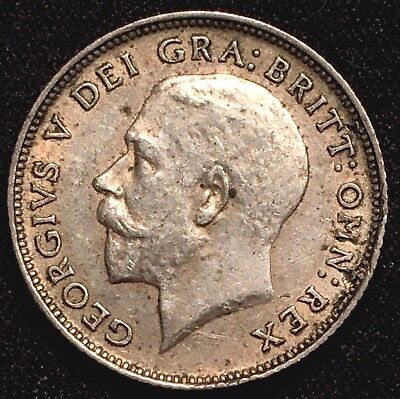 1923 Great Britain UK SILVER 6 Pence Sixpence - XF+ AU Almost Uncirculated