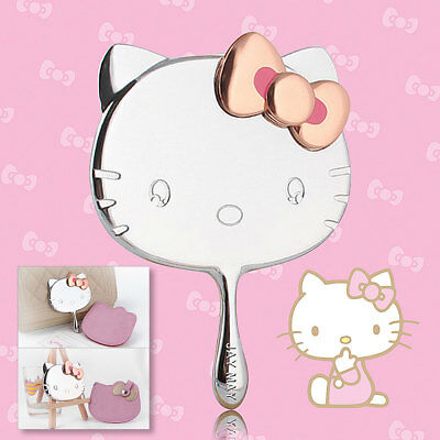 Hot Hello Kitty Makeup Mirror Pocket Handheld Silver Portable Leather Bag Head