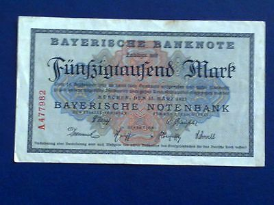 GERMANY - BAYERISH 50000 MARK 1923 -Munich- VERY FINE