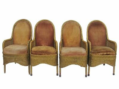 Heywood Wakefield 1930's Wicker Chairs Antique Wicker and Velvet Club Chairs Art