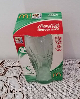 COKE COCA COLA South Africa FIFA 2010 GREEN CONTOUR GLASS NEW IN PACKAGING
