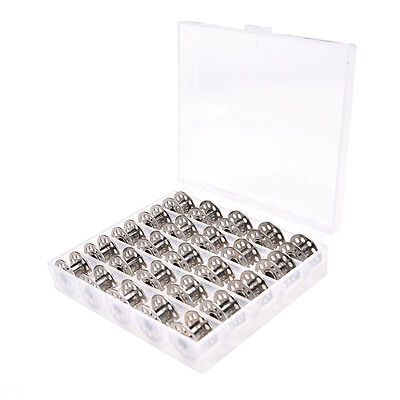25Pcs Clear Empty Sewing Machine Bobbins Spool Metal Case With Storage Box、Fad