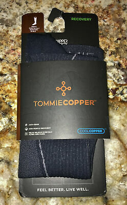 TOMMIE COPPER Recovery Charcoal Grey Graduated Compression OTC Socks Mens 6-8.5
