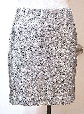NWT $120 White House Black Market Silver Sequin Pencil Skirt, Sizes 6, 8, 10, 12