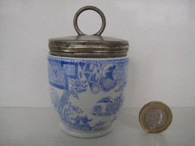 Very Rare Early Royal Worcester Egg Coddler Willow Blue And White Antique