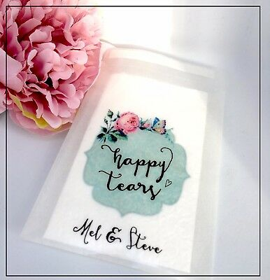 10 Vintage Personalised for Happy tears glassine Confetti Favour Wedding