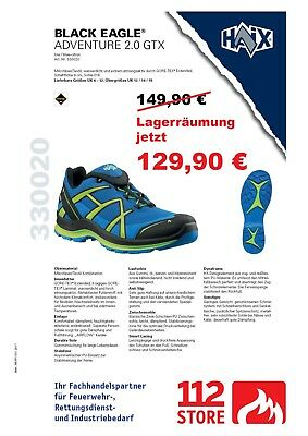 LAGERRÄUMUNG!! NEU! HAIX Black Eagle Adventure 2.0 GTX low blue-citrus