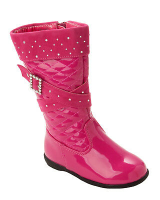 Girls Fuschia Pink Patent Quilted Diamante Knee High Winter Boots Kids Size 5-12