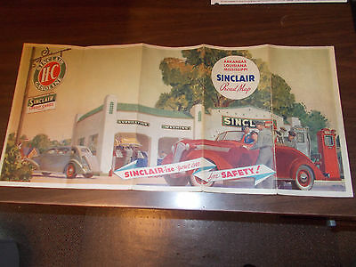 1937 Sinclair Arkansas/Louisiana/Miss. Vintage Road Map / Gas Station Cover Art