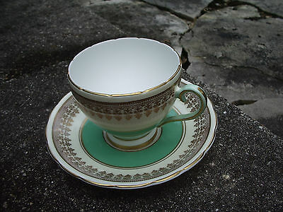 Wellington Cup Saucer Vintage Bone China Hand Painted White Green Gold England