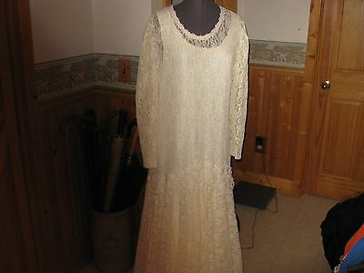 Vtg Ivory all lace Elena Collection Drop Waist al lace comes w/ Long Rayon slip