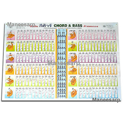 electric bass guitar chord chart 4 string new eur 5 56 picclick it. Black Bedroom Furniture Sets. Home Design Ideas