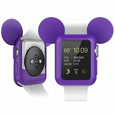 Mouse Case Protective Silicone Cover for Apple Watch 38mm Series 1 2 3 Purple HQ