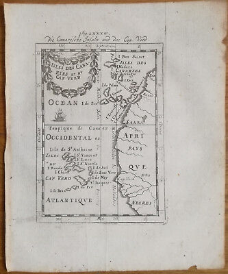 Mallet + Original Engraving Map Canary Islands Cape Verde  + 1719