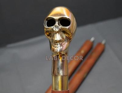 Antique Brass Wood Walking Stick Cane Designer And Skull Handle Grandfather Gift