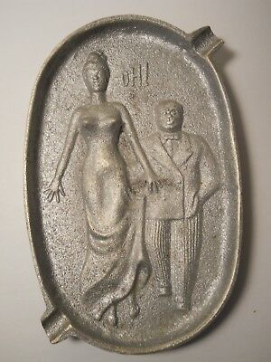 Vintage Art Deco Risque Metal Ashtray Naughty Old Man Groping Lady's Butt
