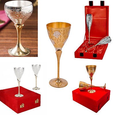 Multi Design Handcrafted Silver Gold Plated Coated Two Tone Wine Goblet Glass