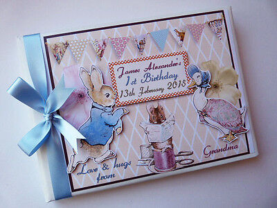 Personalised Peter Rabbit/first/1St Birthday Christening Guest Book Any Design