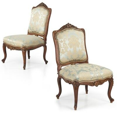 Pair of Finely Carved French Rococo Walnut Antique Side Chairs c. 1860