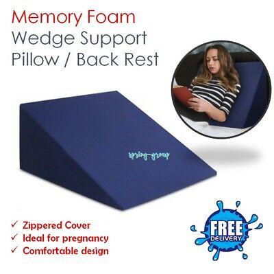 Memory Foam Bed Wedge Prgenancy Gel Pillow Neck Back Support Washable Cover