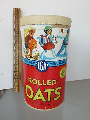 "IGA ROLLED OATS  CARDBOARD CANISTER - 9 3/4"" TALL -  2 lb. 10 oz. - GREAT SHAPE"
