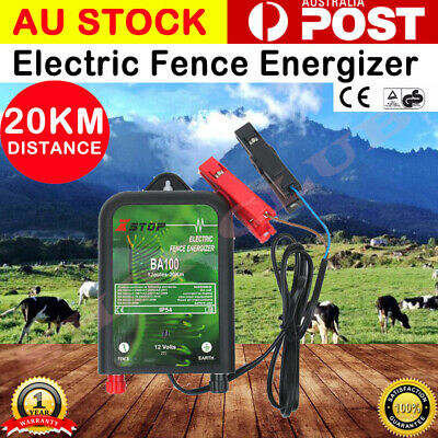 12V Electric Fence Energiser Range Power Charger Poly Wire Tape Posts 20km AU