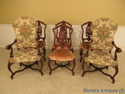 LF28764: Set of Vintage 1930s Heavily Carved Walnut Dining Room Chairs