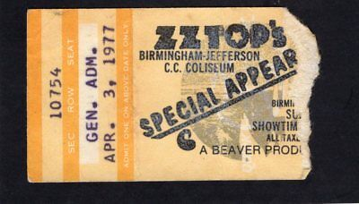 1977 ZZ Top Concert Ticket Stub Birmingham Jefferson Worldwide Texas Tour
