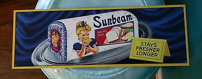 Sunbeam bread girl advertising metal sign vintage image display 4.5 x 12 50051