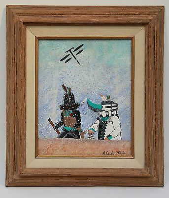 Kachina Painting By Zuni Artist M. Qualo ~ 1995