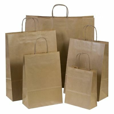 Brown Kraft Paper Bags Handles Grocery Shopping Party 10, 25, 50, 100, 200, 250
