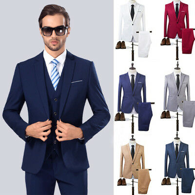 USA New Mens Casual Slim Fit Formal One Button Suit Blazer Coat Jacket Tops Suit