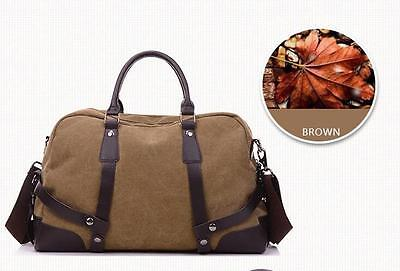 Men's Vintage Canvas Genuine Leather Travel Duffel Tote Cross Body Overnight Bag