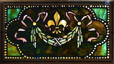 Antique American Stained Glass Window w/Chunk Jewels,Fleur d'lis and Wreath