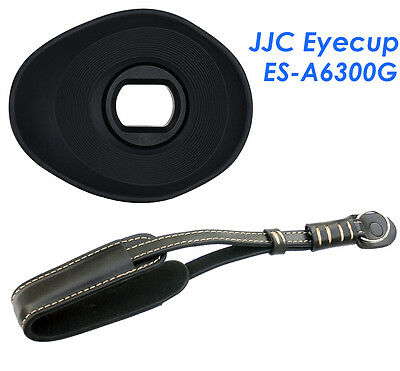 JJC  Silicagel Oval Eyecup+Genuine Leather Wrist Strap for Sony A6300 A6000