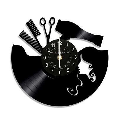 Barber Shop Hairdresser's LED Vinyl Record Wall Clock Decor Handmade Modern Art