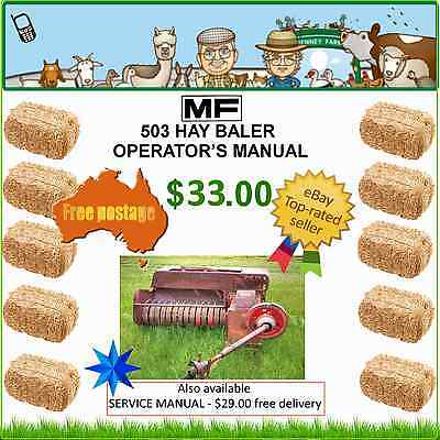 MF503 SMALL SQUARE BALER - Operator's instructions - $33.00 - free post
