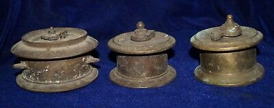 Antique 3 Indian Rare Old Brass Finish Ink Pot With Cap Inkwell Decorative Colle